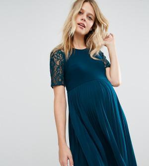 ASOS Maternity Платье мини для беременных с плиссировкой и кружевом. Цвет: синий