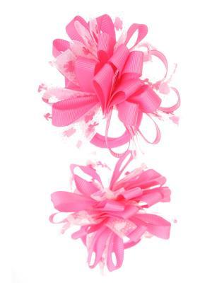 Банты из ленты на резинке в сердечко-бантик, розовый, набор 2 шт Радужки. Цвет: розовый