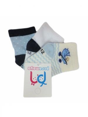 Носки детские, 3 пары PERA MAYA. Цвет: белый, голубой, кремовый