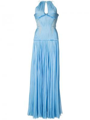 Плиссированное платье в пол J. Mendel. Цвет: синий
