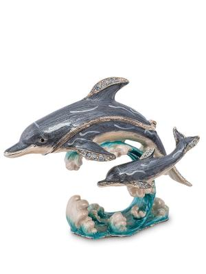 Шкатулка Два дельфина Nobility. Цвет: синий