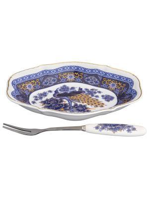Тарелка для снеков  Павлин синий Elan Gallery. Цвет: белый, синий
