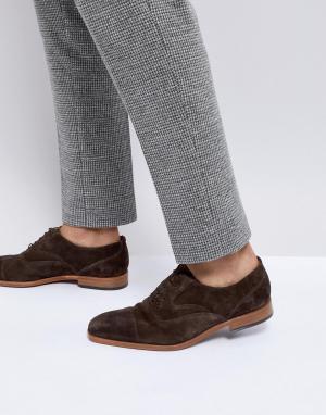 PS Paul Smith Темно-коричневые замшевые дерби Tompkins. Цвет: коричневый