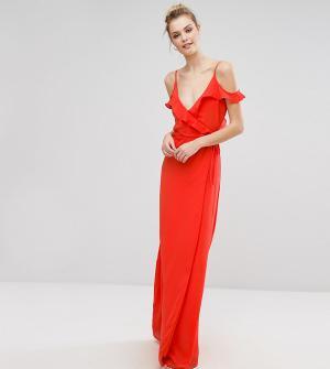 Fashion Union Tall Платье на бретельках с открытыми плечами и оборкой. Цвет: красный