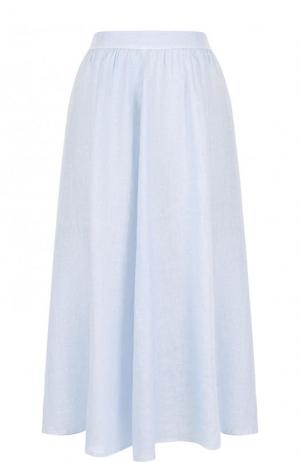 Однотонная льняная юбка-миди 120% Lino. Цвет: голубой