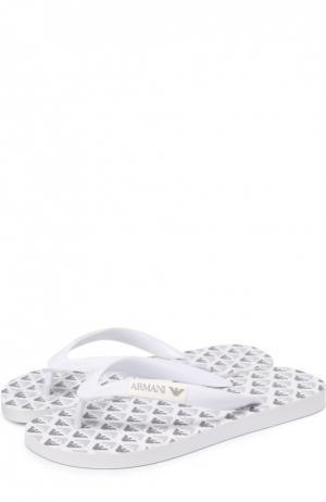 Резиновые шлепанцы с логотипом бренда Giorgio Armani. Цвет: белый