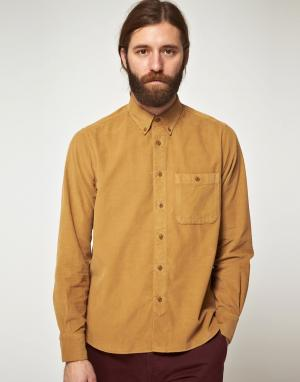 YMC Вельветовая рубашка с длинными рукавами. Цвет: коричневый