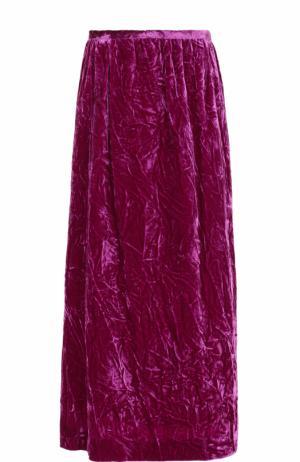Бархатная однотонная юбка-миди Dries Van Noten. Цвет: фуксия