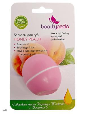 Натуральный бальзам для губ с маслами Ши, Жожоба и витамином E. Персик Beautypedia. Цвет: розовый