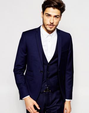 Vito Супероблегающий пиджак. Цвет: синий