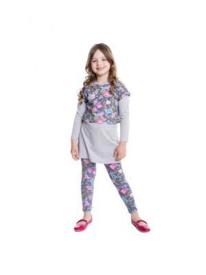 Комплект трикотажный для девочек:сарафан, фуфайка(футболка с длинным рукавом) PlayToday. Цвет: серый