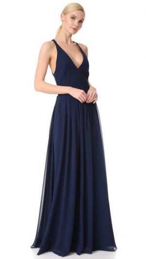 Вечернее платье с V-образным вырезом и завязками на спине Monique Lhuillier Bridesmaids. Цвет: ярко-голубой