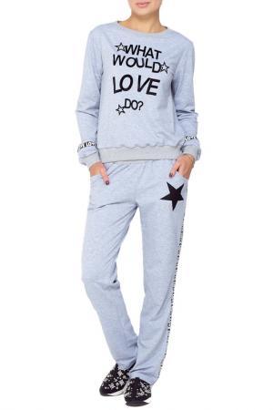 Костюм: брюки, кофта Majaly. Цвет: серый
