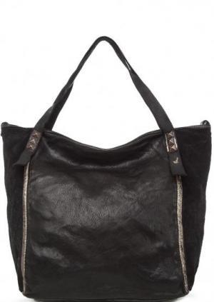 Кожаная сумка со съемным плечевым ремнем Campomaggi. Цвет: черный