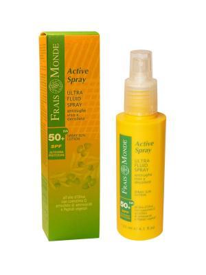 Ультралегкая эмульсия - спрей для лица и зоны декольте с фильтрами UVA + UVB (фактор защиты 50+) Frais Monde. Цвет: желтый, золотистый