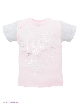 Футболка Лео. Цвет: бледно-розовый, светло-серый
