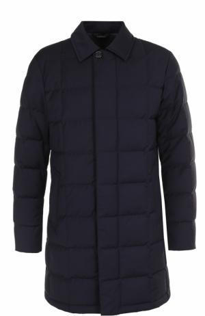 Пуховое пальто на молнии с отложным воротником Z Zegna. Цвет: темно-синий