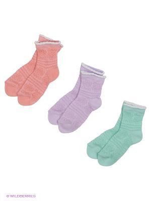 Носки - 3 пары Гамма. Цвет: персиковый, сиреневый