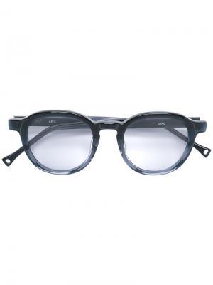 Солнцезащитные очки в круглой оправе Oamc. Цвет: синий