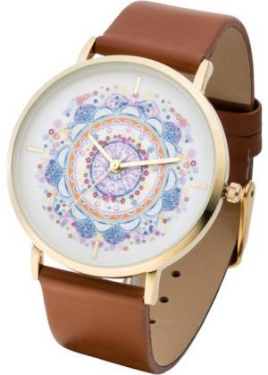 Часы с узорчатым циферблатом (коричневый/маджента) bonprix. Цвет: коричневый/маджента