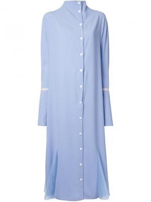 Платье на пуговицах с сетчатыми вставками N Duo. Цвет: синий