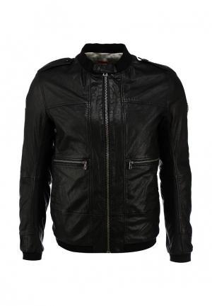 Куртка кожаная Boss Orange. Цвет: черный