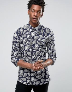 PS by Paul Smith Темно-синяя строгая рубашка со сплошным принтом пейсли. Цвет: темно-синий