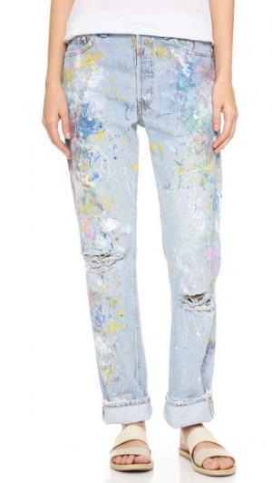 Джинсы-бойфренды Basic с эффектом поношенности Rialto Jean Project. Цвет: радужный поношенный