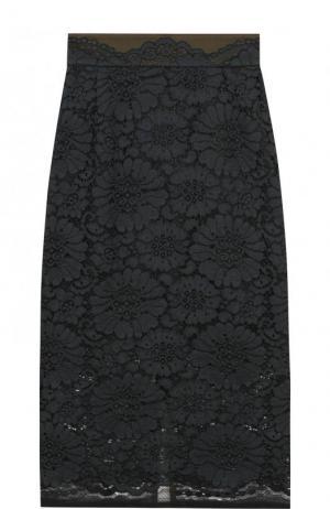 Однотонная кружевная юбка-миди Dorothee Schumacher. Цвет: зеленый