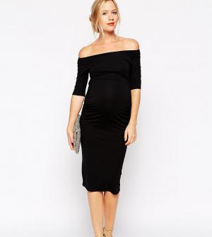 ASOS Maternity Платье бардо для беременных с укороченными рукавами TAL. Цвет: черный