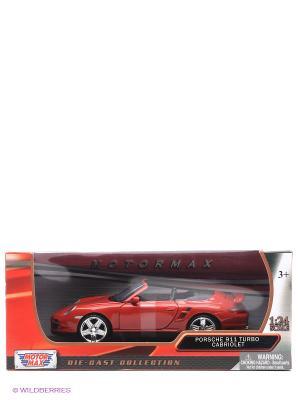 Машинка коллекционная Porsche 911 Turbo Cabriolet в масштабе 1к24 Motormax. Цвет: красный
