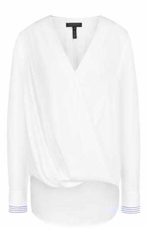 Шелковая блуза с V-образным вырезом и драпировкой Rag&Bone. Цвет: белый