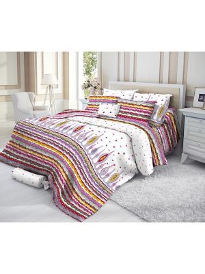 Комплект постельного белья, PAUL Verossa. Цвет: белый, красный