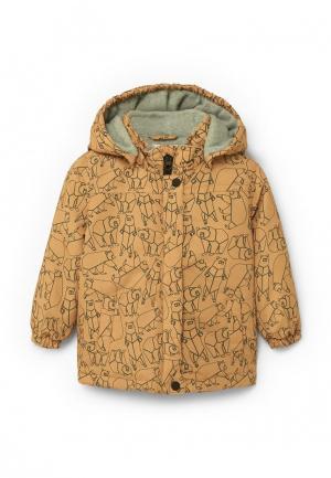 Куртка утепленная Mango Kids. Цвет: бежевый