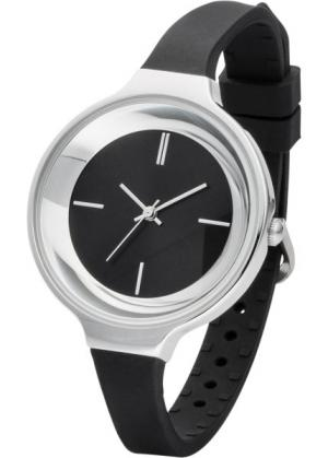 Часы на узком силиконовом браслете (черный/серебристый) bonprix. Цвет: черный/серебристый