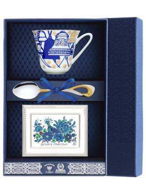 Набор чайный Сад - Колокола  (чашка + ложка 925 пр рамка для фото футляр) АргентА. Цвет: серебристый