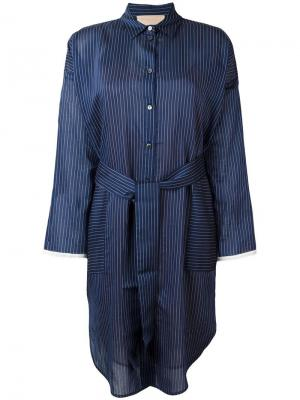 Платье-рубашка в полоску Erika Cavallini. Цвет: синий