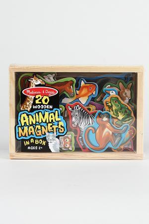 Деревянные магнитные животные Melissa & Doug. Цвет: бежевый, синий, зеленый, красн