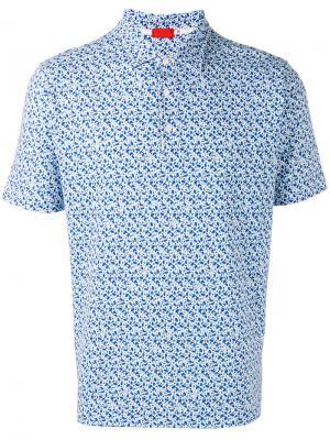 Рубашка с мелким узором Isaia. Цвет: синий