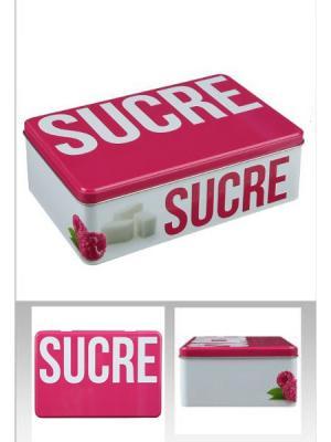 Банка для хранения металлическая с крышкой, сахара JJA. Цвет: розовый