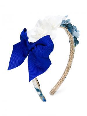 Обруч на голову с цветами и бантом Monnalisa Chic. Цвет: синий