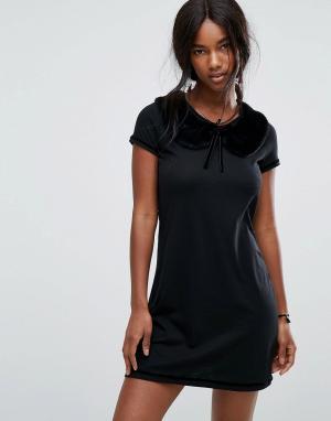 Anna Sui Платье мини с воротником из искусственного меха. Цвет: черный