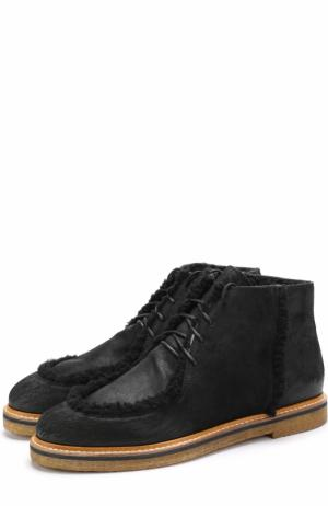 Кожаные ботинки на шнуровке с внутренней меховой отделкой O.X.S.. Цвет: черный
