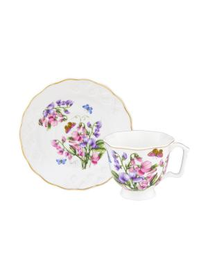 Кофейная пара Душистый цветок Elan Gallery. Цвет: белый,фиолетовый,розовый