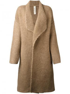 Пальто-кардиган с лацканами Daniela Pancheri. Цвет: коричневый