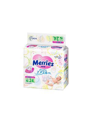 Подгузники для детей размер S 4-8кг, 24шт MERRIES. Цвет: белый