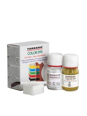 Краситель+очиститель  для гладкой кожи TDC05 COLOR DYE, стекло, 2 х 25мл. (035 хаки) Tarrago. Цвет: хаки