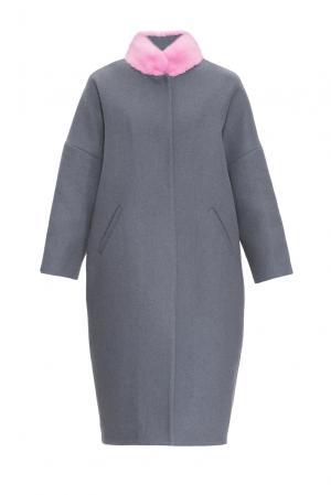 Утепленное пальто с норковой отделкой 161179 Anna Dubovitskaya. Цвет: серый