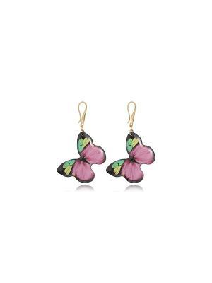 Серьги Малиновые бабочки Dragon Porter. Цвет: розовый, малиновый