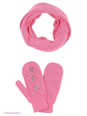 Комплект (варежки, шарф-снуд) R&I. Цвет: розовый